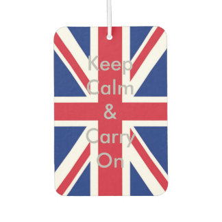 union jack flag keep calm and carry on air freshener