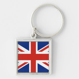 Union Jack - Flag of Great Britain Silver-Colored Square Keychain