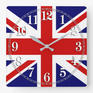 Union Jack Flag of the United Kingdom Square Wall Clock