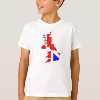 Union Jack Flag on British Map Kids T-Shirt
