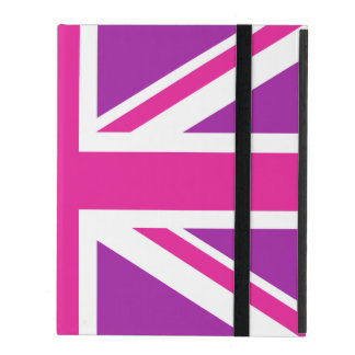 Union Jack Flag Pink, Purple & White iPad Case