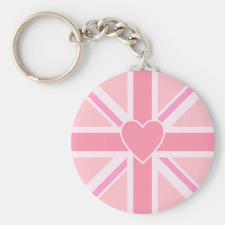 Union Jack/Flag Pinks & Heart Basic Round Button Keychain
