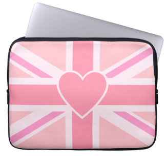 Union Jack/Flag Pinks & Heart Laptop Sleeve