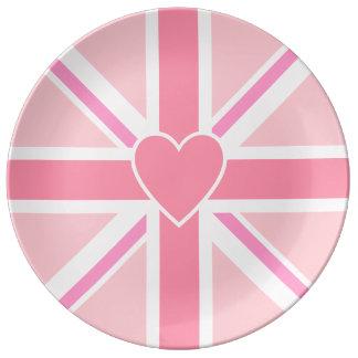 Union Jack/Flag Pinks & Heart Porcelain Plate