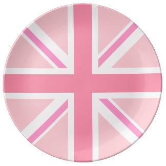 Union Jack/Flag Pinks Porcelain Plate