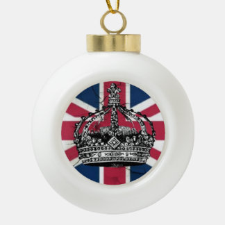 Union Jack Flag Queen of England Diamond Jubilee Ceramic Ball Christmas Ornament