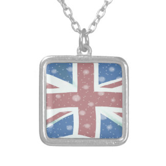 Union Jack Flag Snowflakes Silver Plated Necklace