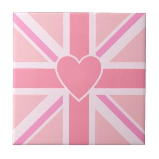 Union Jack/Flag Square Pinks & Heart Tile