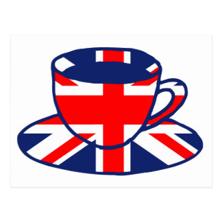 Union Jack flag teacup art Postcard