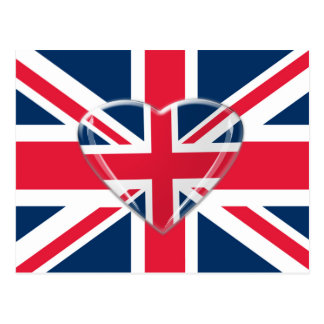 Union Jack Flag with Heart Design Postcard