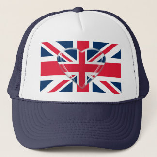 Union Jack Flag with Heart Design Trucker Hat