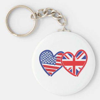Union Jack Flat USA Flag Basic Round Button Keychain
