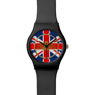 Union Jack Gold Lion Unicorn British Coat of Arms Watch