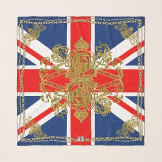 Union Jack Gold Lion Unicorn Emblem Gold Chain Scarf