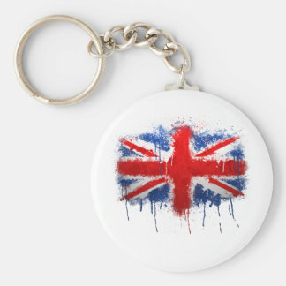 Union Jack Graffiti Basic Round Button Keychain