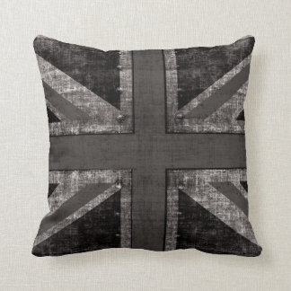 Union Jack grunge black & white toss pillow