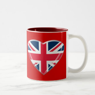 Union Jack Heart Design Two-Tone Coffee Mug