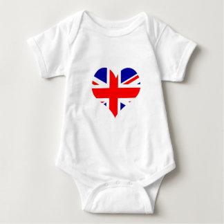 Union Jack Heart Flag Baby Bodysuit