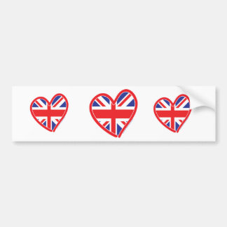 Union Jack Heart Flag Bumper Sticker