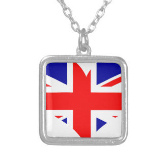 Union Jack Heart Flag Silver Plated Necklace