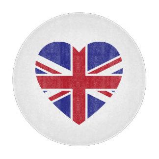 Union Jack Heart Glass Cutting Board
