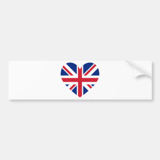 Union Jack Heart Shape Bumper Sticker