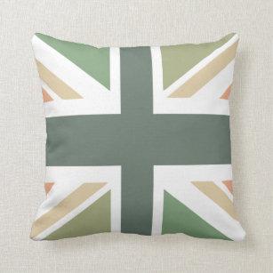 Union Jack - In Designer Pea Soup Throw Pillow
