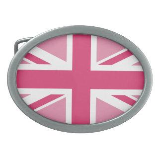 Union Jack ~ In Girly Pinks Oval Belt Buckle