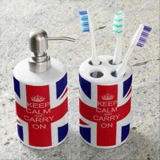 Union Jack Keep calm and carry on Bath Set