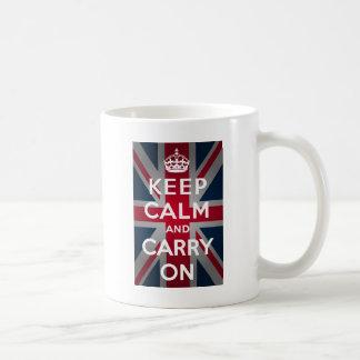 Union Jack Keep Calm And Carry On Classic White Coffee Mug