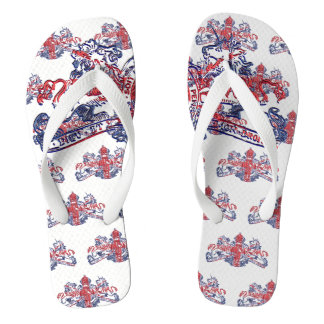 Union Jack Lion Unicorn British Coat Arms Red Blue Flip Flops