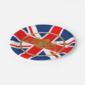 Union Jack Lion & Unicorn British Coat of Arms Paper Plate