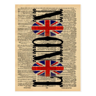 Union Jack on Dictionary Page Postcard