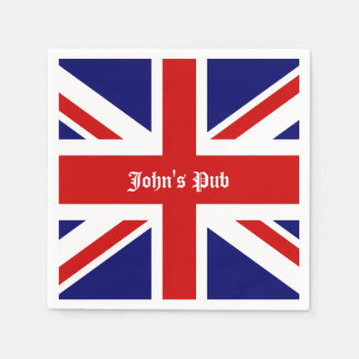 Union Jack Personalized British Pub Disposable Napkins