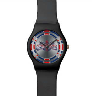 Union Jack Silver Dieu Mon Droit British Coat Arms Watch