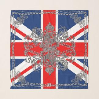 Union Jack Silver Lion Unicorn Emblem Silver Chain Scarf