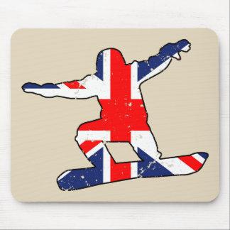 Union Jack SNOWBOARDER (blk) Mouse Pad