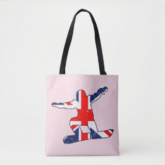 Union Jack SNOWBOARDER (blk) Tote Bag