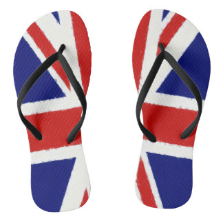 Union Jack, UK flag, banner, watercolor painting Flip Flops