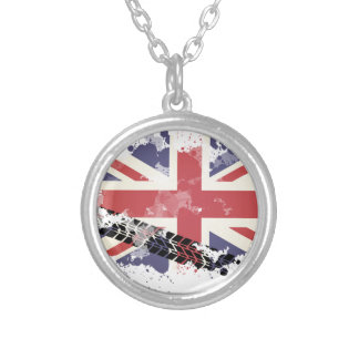 Union Jack UK Flag Silver Plated Necklace
