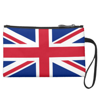 Union Jack UK Flag Suede Wristlet