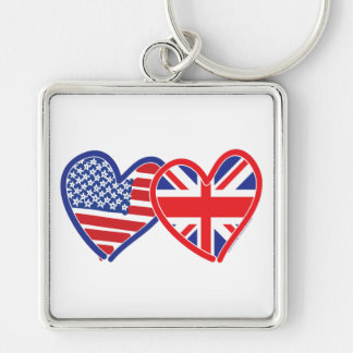 Union Jack/USA Silver-Colored Square Keychain