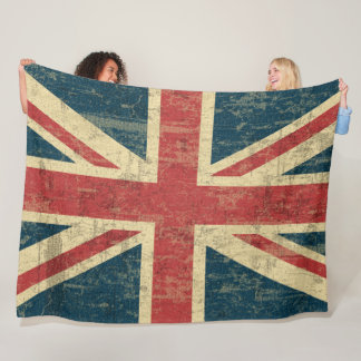 Union Jack Vintage Distressed Fleece Blanket