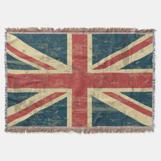 Union Jack Vintage Distressed Throw Blanket