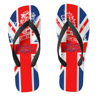 Union Jack White Dieu Mon Droit British Coat Arms Flip Flops