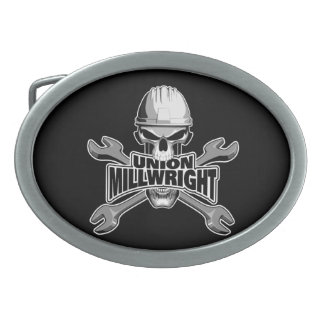 Union Millwright: Skull and Wrenches Oval Belt Buckle