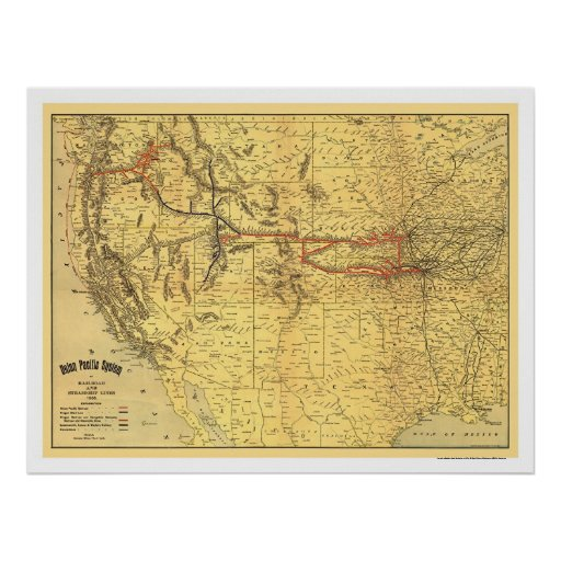 Union Pacific Railroad Map 1900 Poster
