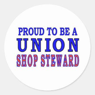 UNION SHOP STEWARD ROUND STICKER
