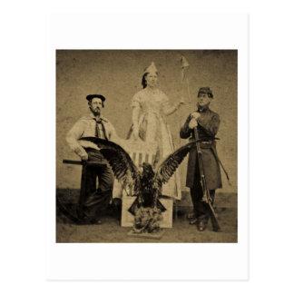 Union Soldier, Sailor, and Lady Liberty Civil War Postcard