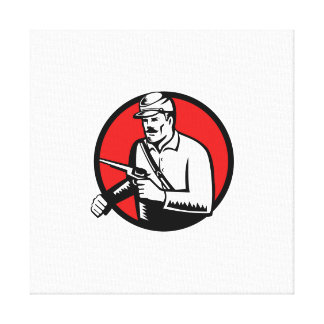 Union Soldier With Pistol Circle Woodcut Canvas Print
